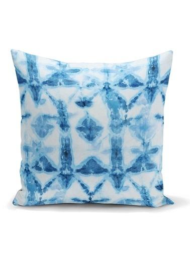 Real Homes Mavi Kar Tanesi Desenli Dijital Baskılı Dekoratif Yastık Kılıfı Renkli